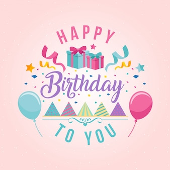 Surprise Theme Happy Birthday Card Illustration