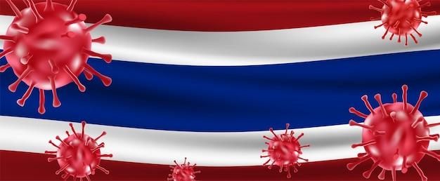 Surto de variante do vírus covid-19 flutuando sobre a bandeira da tailândia. vetor