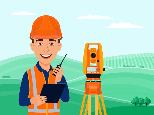 Surveyor, engenheiro cadastral, cartógrafo, personagem de desenho animado, teodolito, estação total, equipamento de topografia.
