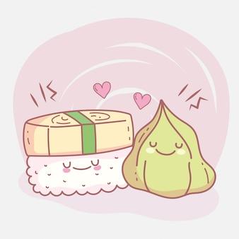 Sushi arroz e wasabi menu restaurante alimentos bonito