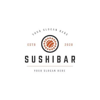 Sushi bar design de logotipo de comida japonesa