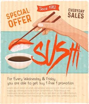Sushi bar munu. cartaz promocional retrô de comida japonesa para loja de rolos de sushi. ilustração.
