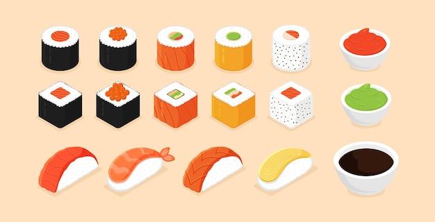 Sushi com ícones de sushi isométricos em fundo branco
