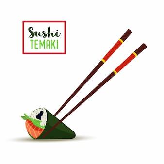 Sushi com pauzinhos. temaki