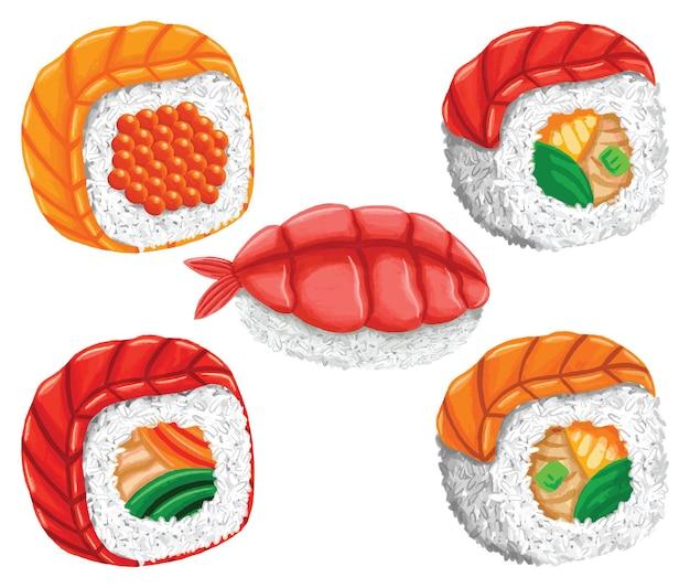 Sushi comida japonesa em estilo design plano