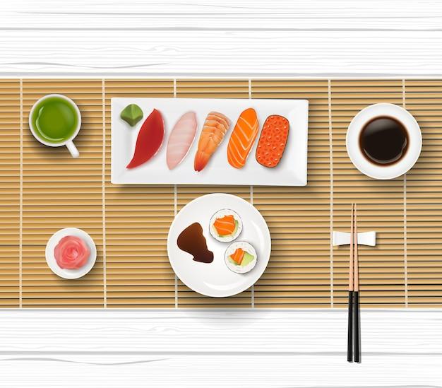 Sushi comida japonesa em um fundo de mesa de madeira