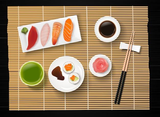 Sushi, comida japonesa no fundo da mesa de madeira