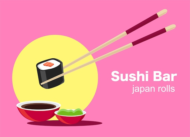 Sushi, comida japonesa, pôster de restaurante de sushi