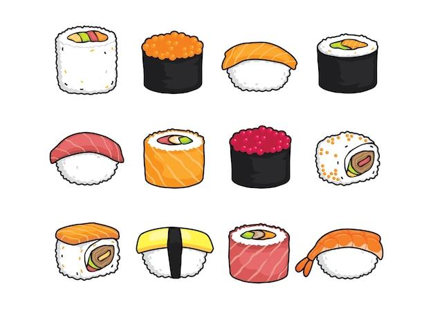 Sushi conjunto de ilustração vetorial