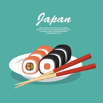 Sushi de comida de viagem no japão