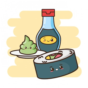 Sushi de fast food kawaii e ilustração de comida asiática