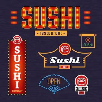 Sushi de sinais luminosos. emblemas de vetor, etiquetas. publicidade ao ar livre