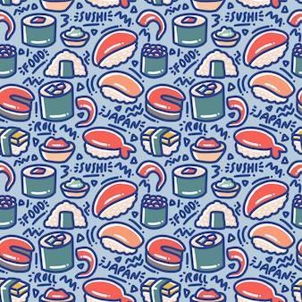 Sushi doodle padrão sem emenda