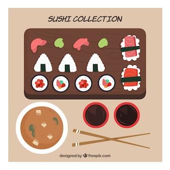 Sushi e coleção de comida japonesa