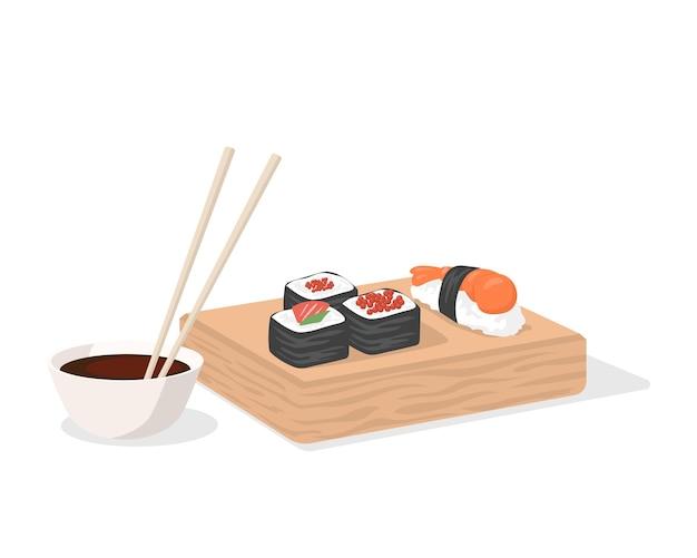 Sushi e molho de soja com pauzinhos no vetor de placa de madeira
