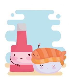 Sushi e molho garrafa menu personagem comida dos desenhos animados