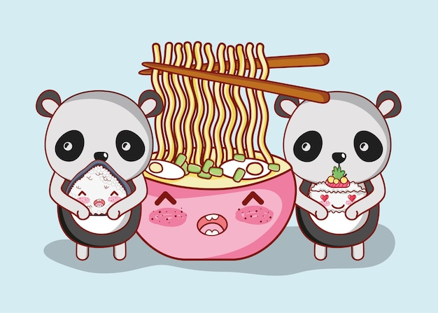 Sushi e pandas kawaii