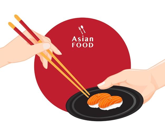 Sushi e pauzinhos, ilustração de comida japonesa para sushi, vetor