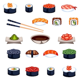 Sushi e rolos de vetor ícones de comida