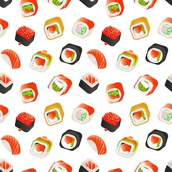 Sushi e rolos padrão sem emenda, ilustração de comida japonesa.