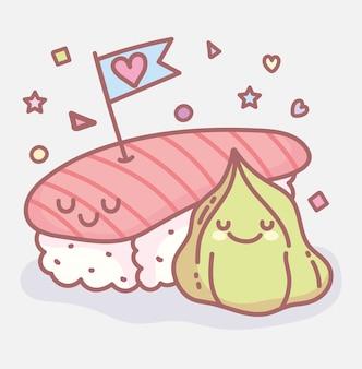 Sushi e wasabi amor menu restaurante cartoon comida fofos