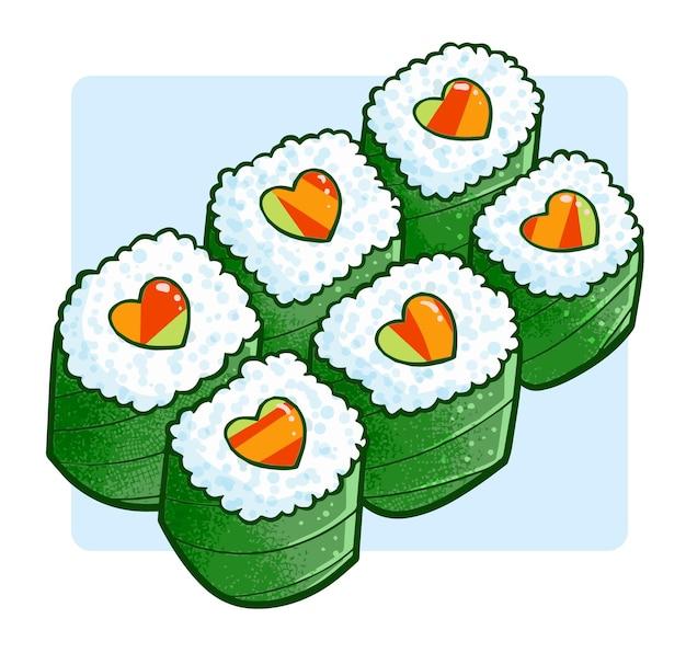 Sushi engraçado e fofo do amor em estilo doodle