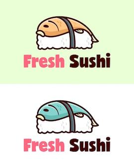 Sushi fresco com peixe no logotipo do desenho animado