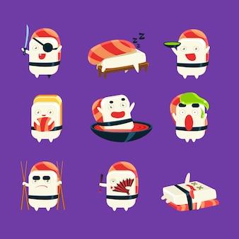Sushi humanizado conjunto de atividades temáticas do japão