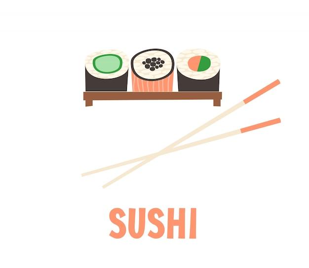Sushi. ilustração de vetor japonês de sushi roll de comida.
