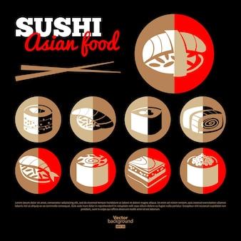 Sushi japonês. comida asiática. conjunto de ícones planos. design do menu