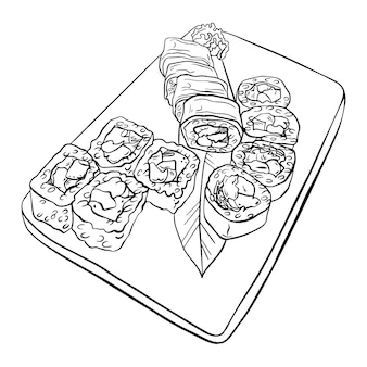 Sushi japonês e conjunto de rolo, prato de servir.