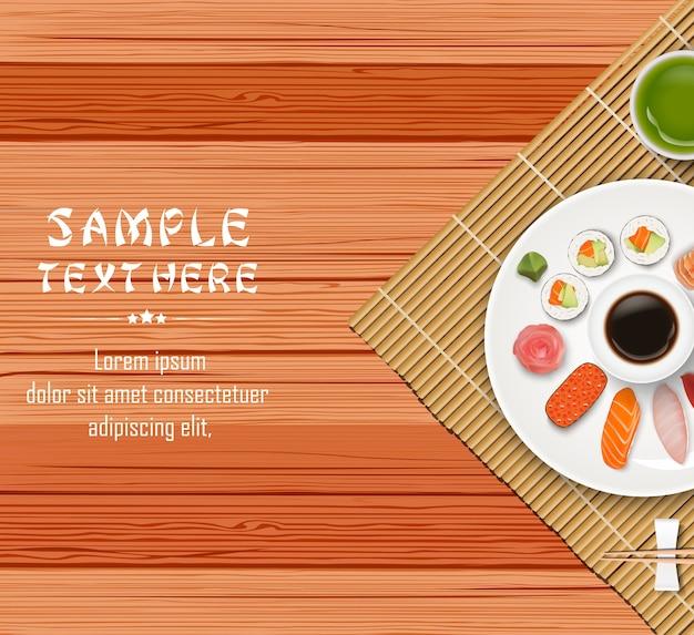 Sushi japonês tradicional no fundo da mesa de madeira