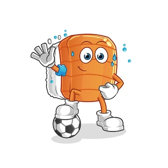 Sushi jogando ilustração de futebol. personagem