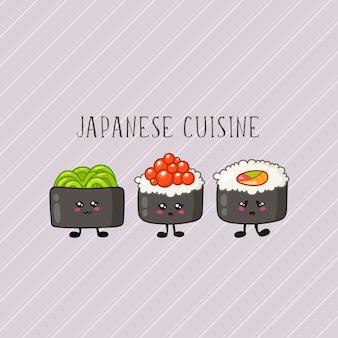 Sushi kawaii, rolo logotipo ou banner na comida e cozinha colorida, tradicional japonesa ou asiática