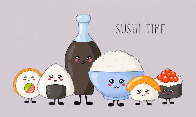 Sushi kawaii, rolos, conjunto de sashimi, comida e cozinha japonesa ou asiática, emoji de desenhos animados, estilo mangá