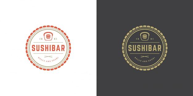 Sushi logotipo e crachá restaurante de comida japonesa com sushi salmão rolo cozinha asiática silhueta vector