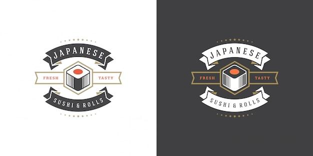 Sushi logotipo e distintivo restaurante de comida japonesa com sushi salmão roll ilustração em vetor cozinha asiática