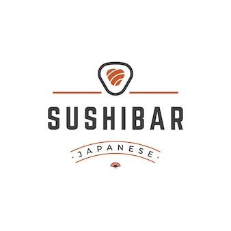 Sushi loja logotipo modelo salmão roll silhueta com ilustração em vetor tipografia retrô
