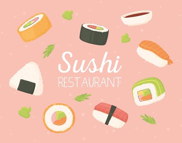 Sushi restaurante comida japonesa frutos do mar rolos ilustração tradicional