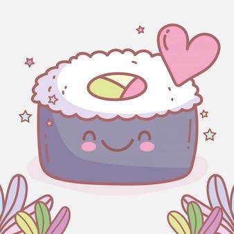 Sushi roll japonês amor desenhos animados alimentos