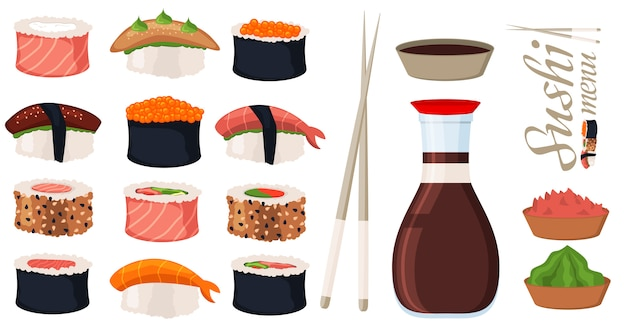 Sushi roll vector set
