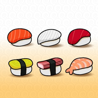 Sushi saborosa comida japonesa