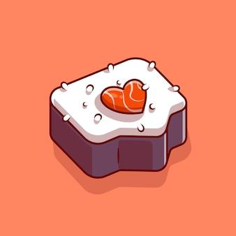 Sushi salmon amor cartoon ícone ilustração vetorial. conceito de ícone de comida japonesa. estilo flat cartoon