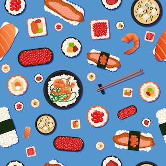 Sushi sem costura padrão de comida japonesa