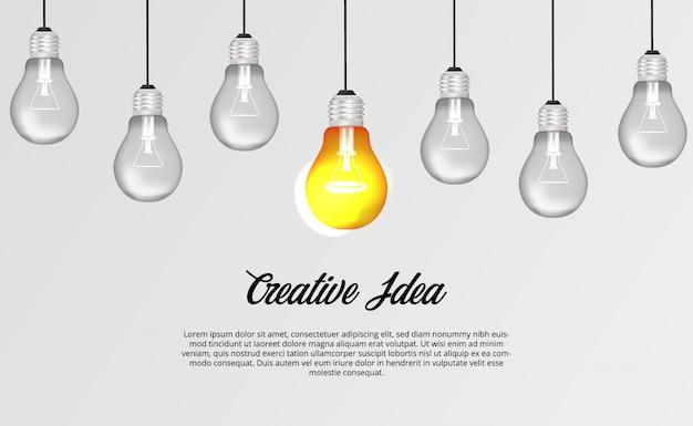 Suspensão da lâmpada de luz 3d para brainstorming idéia criativa solução ilustração conceito