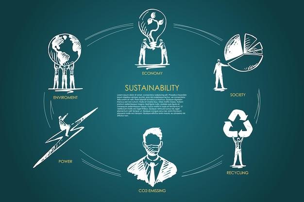 Sustentabilidade, economia, sociedade, reciclagem, emissão de co2, infográfico do ambiente