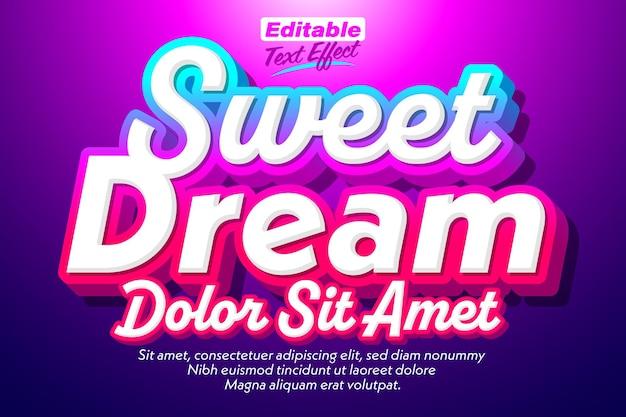 Sweet dream smooth efeito de texto 3d