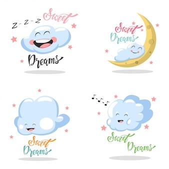 Sweet dreams mão desenhada lettering conjunto isolado branco
