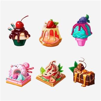 Sweety cakes clipart de ilustração vetorial