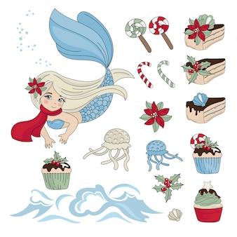 Sweety sereia ano novo conjunto de ilustração de cor